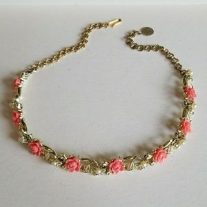 1950's CORAL Rose Choker necklace